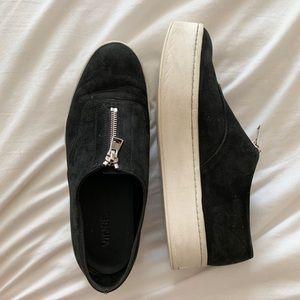 Vince Warner Zip-Front Platform Sneakers, Black